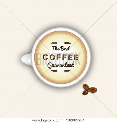 Coffee cup top view. Best coffee concept with espresso and coffee beans. Realistic vector cappuccino cup. Coffee cup full of foam. White porcelain coffee cup.