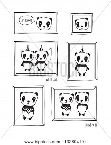 I love you! Greeting cards for Mother's Day, Valentine's Day, birthday, wedding with pandas and hearts. Hand drawn pandas with frames for your design. Doodles, sketch.