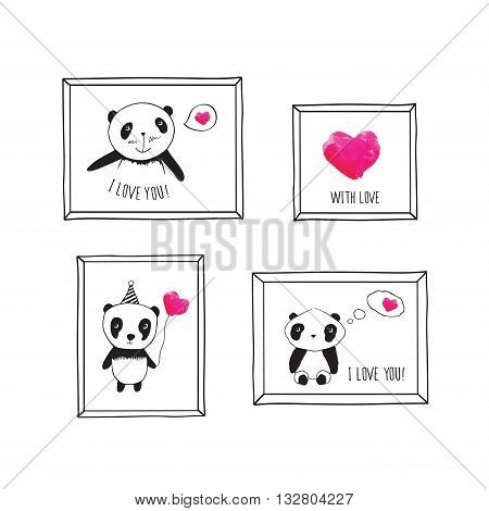 Set of greeting cards for Mother's Day, Father's Day, Valentine's Day, birthday, wedding with pandas and pink watercolor hearts. Hand drawn pandas with frames for your design.
