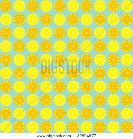 Lemon seamless pattern. Yellow and orange lemon slices seamless pattern. Vector illustration of lemons. Vintage background with painted lemons. Lemon slices vector.