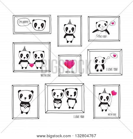Set of greeting cards for Father's Day, Mother's Day, Valentine's Day, birthday, wedding with pandas and pink watercolor hearts. Hand drawn pandas with frames for your design.
