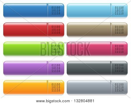 Set of binary code glossy color menu buttons with engraved icons