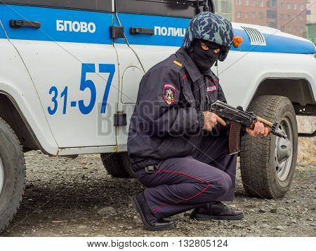 Norilsk, Russia - September, 24: Police detain criminals.
