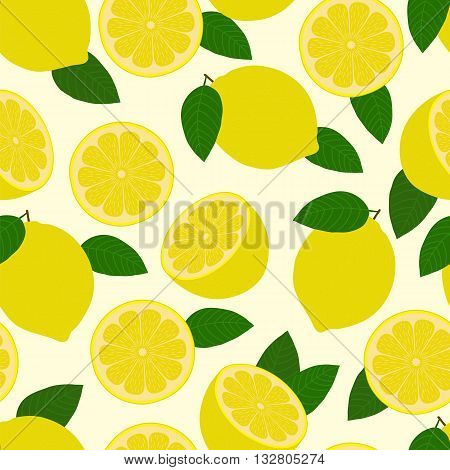 Lemon pattern. Bright seamless background. Vector illustration.