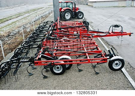 New Red Agricultural Seeder Close Up View