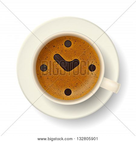 Cup of coffee with froth. Stylized clock face, hour hand and minute hand are showing about  2 p. m. on frothy surface. Time to relax, drink coffee and cheer up