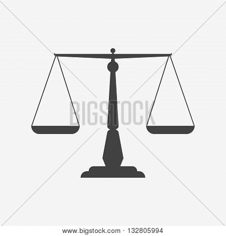 Scales of justice monochrome icon. Vector illustration.