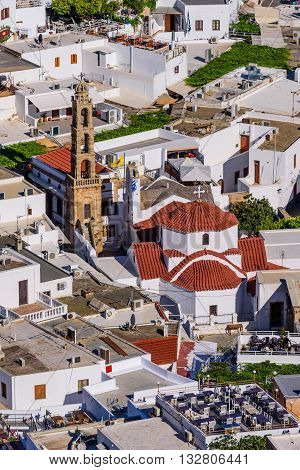 Lindos village, aerial view, Rhodes island, Dodecanese, Greece.
