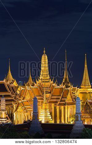 Night view, aerial view Bangkok Grand Palace, The most famous Thailand travel landmark in Bangkok
