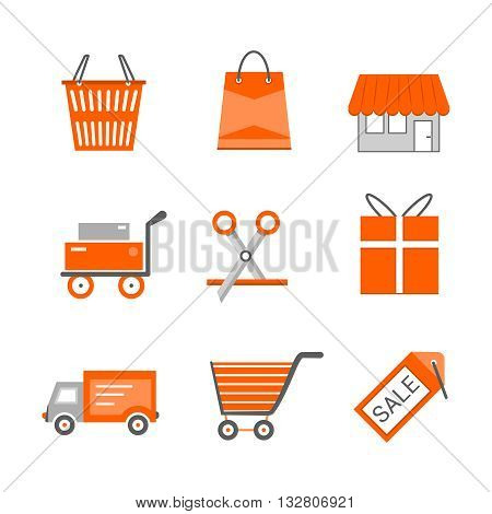 Set of shopping and retail flat vector icons. Shop shopping bag discount label basket gift shipping shopping cart and delivery