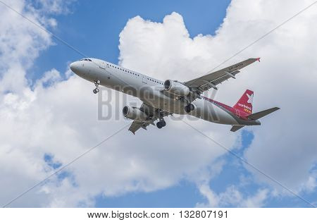 Moscow Russia - may 4 2016: Airbus airlines Nordwind Airlines landing at the International airport Sheremetyevo.