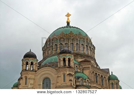 Domes of Naval cathedral of Saint Nicholas in Kronstadt, near St. Petersburg, Russia