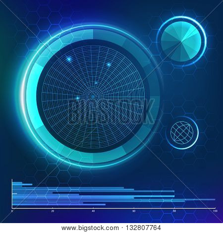 Futuristic user interface. HUD element. Vector template