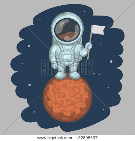 Funny astronaut dressed in white spacesuit is standing on red planet and holding in his hand small flag. Expedition to different planets and space exploration concept
