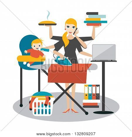 Multitask woman. Mother, businesswoman with baby, ironing, working, coocking and calling.
