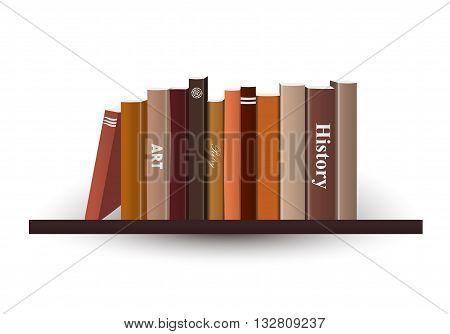 Book shelf. Vector illustration. Book store indoor.