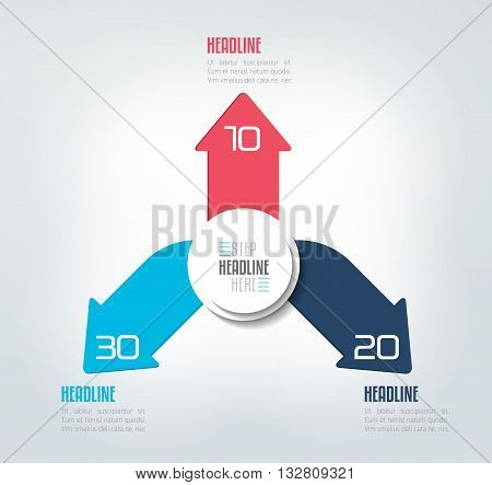 3 directions colo arrows design diagram, chart, template, infographic. Vector.