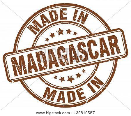 made in Madagascar brown round vintage stamp.Madagascar stamp.Madagascar seal.Madagascar tag.Madagascar.Madagascar sign.Madagascar.Madagascar label.stamp.made.in.made in.