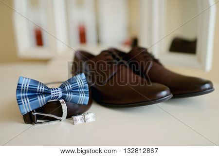 Beautiful Wedding Clothes For Groom And For Businessman. Beauty Of Business Accessories Indoors. Clo