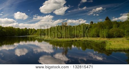 Panorama of Rotes Moor marsh Rhoen Hessen Germany