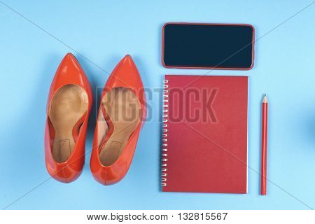 Women Clothing Set, Set Of Cool Stuff And Accessories On Light Blue Background. Top View.  Copy Spac