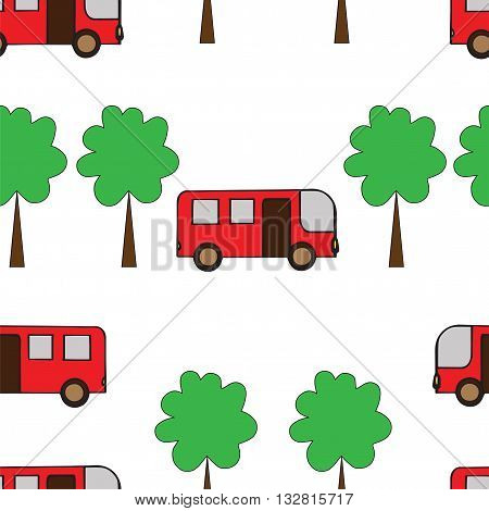 Seamless pattern with red bus and green tree. Vector illustration seamless for banner card invitation textile fabric wrapping paper.