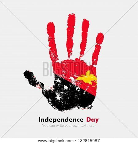 Hand print, which bears the Flag of Papua New Guinea. Independence Day. Grunge style. Grungy hand print with the flag. Hand print and five fingers. Used as an icon, card, greeting, printed materials.