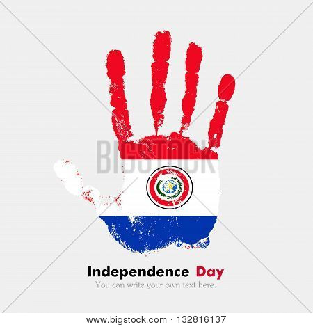 Hand print, which bears the Flag of Paraguay. Independence Day. Grunge style. Grungy hand print with the flag. Hand print and five fingers. Used as an icon, card, greeting, printed materials.