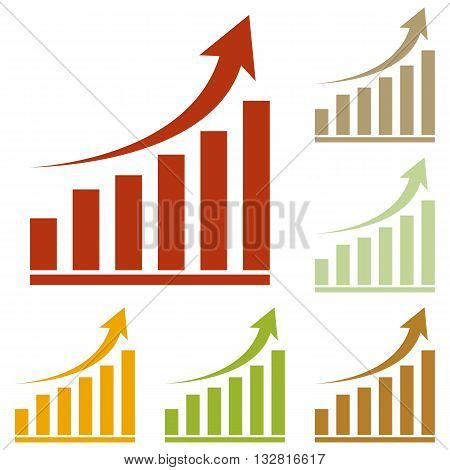 Growing graph sign. Colorful autumn set of icons.