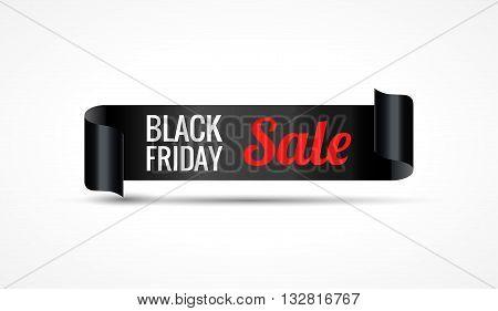 Black Friday sale. Black realistic curved paper ribbon banner. Vector illustration.