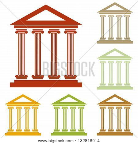 Historical building illustration. Colorful autumn set of icons.