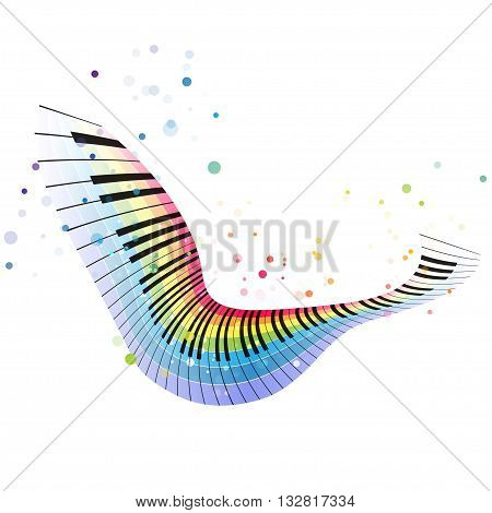 Rainbow piano colorful music design on a white background flying object