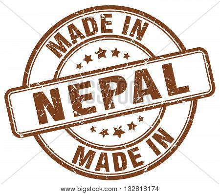 made in Nepal brown round vintage stamp.Nepal stamp.Nepal seal.Nepal tag.Nepal.Nepal sign.Nepal.Nepal label.stamp.made.in.made in.
