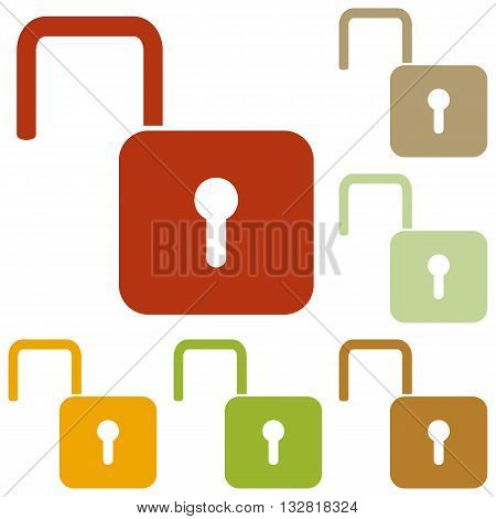 Unlock sign illustration. Colorful autumn set of icons.