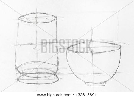 child's drawing - learning drawing of two bowls hand drawing by lead pencil