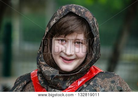 Girl In Camouflage Before Paintball Game