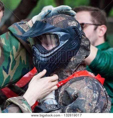 Girl Wears Protective Mask For Playing Paintball