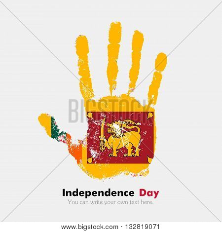 Hand print, which bears the Flag of Sri Lanka. Independence Day. Grunge style. Grungy hand print with the flag. Hand print and five fingers. Used as an icon, card, greeting, printed materials.