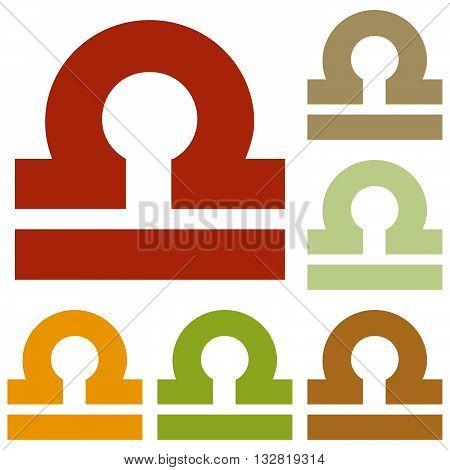 Libra sign illustration. Colorful autumn set of icons.