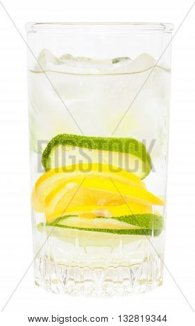 Glass Tumbler With Cold Lemonade Drink