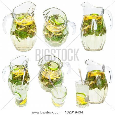 Set From Glass Pitchers And Tumblers With Lemonade