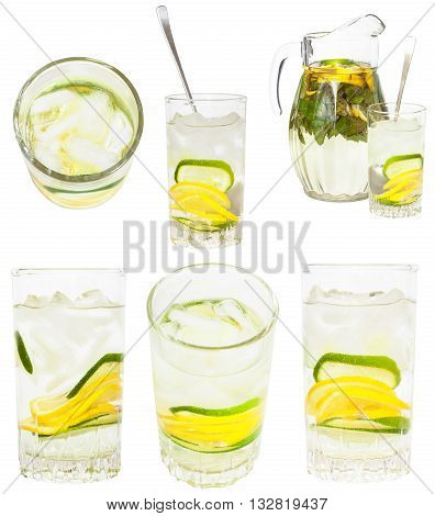 Set From Glass Tumblers With Natural Lemonade