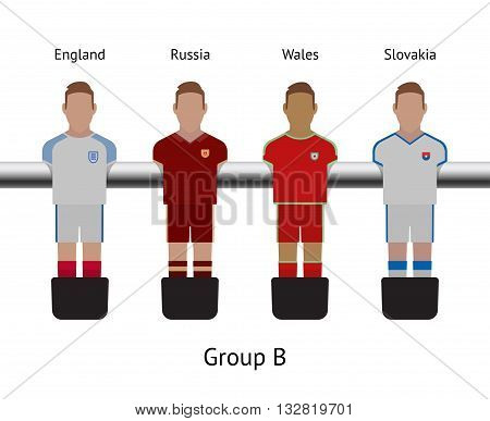 Table football game, Soccer table with players Football players kit. Soccer teams. England, Russia, Wales, Slovakia
