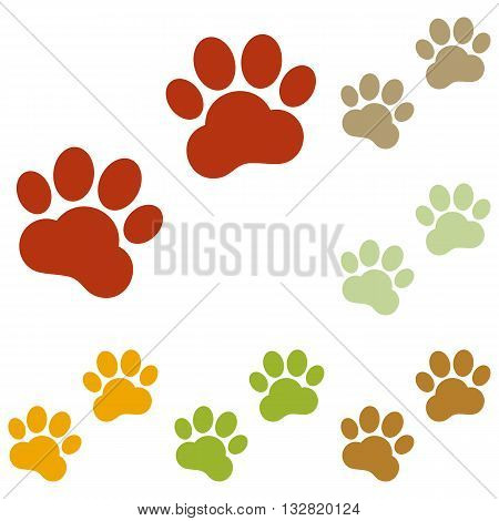 Animal Tracks sign. Colorful autumn set of icons.