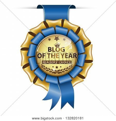 Blog of the Year. Readers' Choice - golden blue award ribbon.