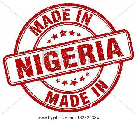 made in Nigeria red round vintage stamp.Nigeria stamp.Nigeria seal.Nigeria tag.Nigeria.Nigeria sign.Nigeria.Nigeria label.stamp.made.in.made in.