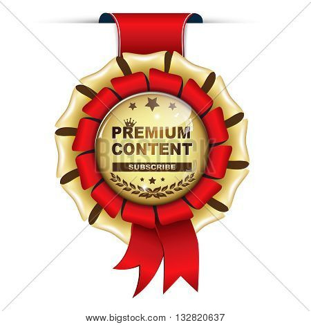 Premium content. Subscribe - golden red ribbon.