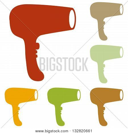 Hair Dryer sign. Colorful autumn set of icons.