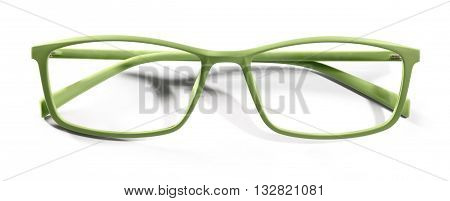 green spectacles eyeglasses isolated on white background