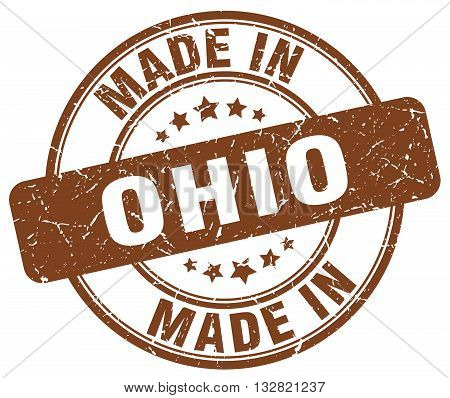 made in Ohio brown round vintage stamp.Ohio stamp.Ohio seal.Ohio tag.Ohio.Ohio sign.Ohio.Ohio label.stamp.made.in.made in.